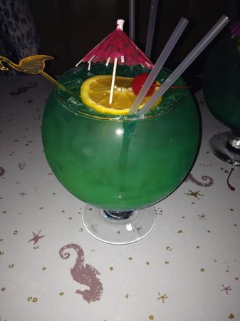 Sip 'n Dip Lounge: Fish bowl.  21 dollars for 40 bucks with of booze.  Great deal!