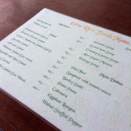 Giva Organic Vegan Raw Food & Drink : Food menu at Giva in Chiang Mai