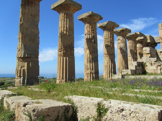 Selinunte : Well preserved Greek columns.