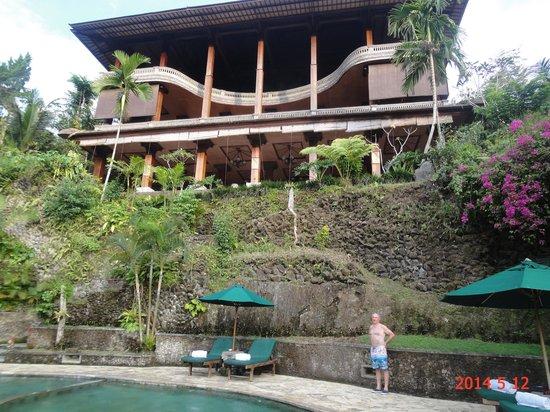 The Royal Pita Maha: Looking up at the resort from the main pool