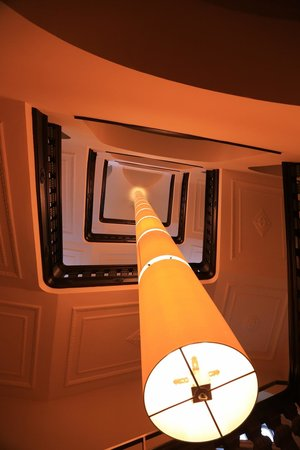 "Mövenpick Hotel Berlin: The ""famous"" hanging lamp in the square stair well"