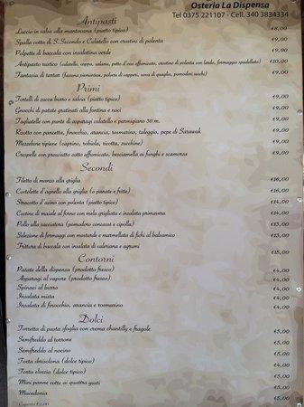 Osteria La Dispensa : Il menù.