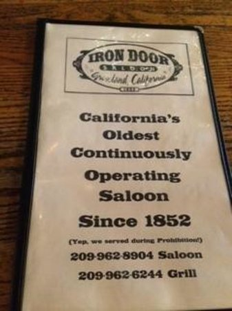 Iron Door Saloon and Grill: Front of menu