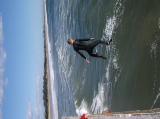 Pismo Pier : Leaping Surfer