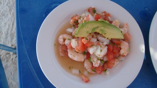 La Playa Xpuha: My portion of ceviche de camarones(smaller then my wifes)