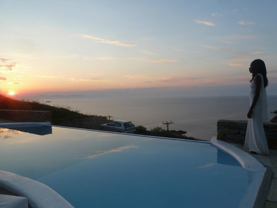 Blue Studios: The main pool area and sunset