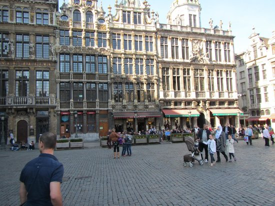 Grand Place/Grote Markt: View of Grand Place on Sunday 2, showing restaurants at one end with outdoor seating