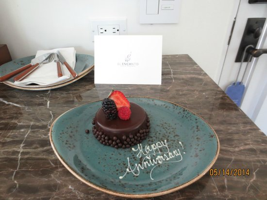 Belmond El Encanto : Delicious chocolate mousse cake for our anniversary