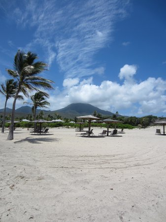 Nisbet Plantation Beach Club: Mount Nevis from the beach