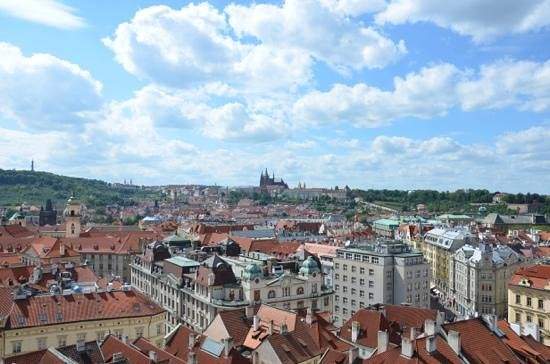 Old Town Hall and Astronomical Clock : view from the top towards Prague Castle