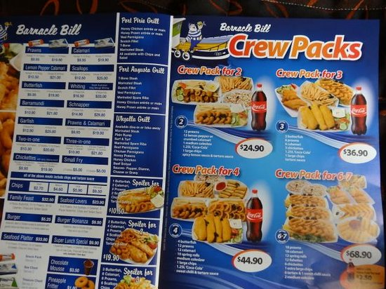 example of menu picture of barnacle bill family seafood restaurant