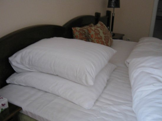 Novum Hotel Excelsior Duesseldorf: The pillows: large, square shaped, and perhaps too soft for some people.