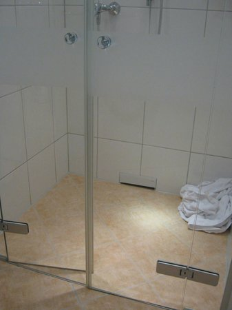 Novum Hotel Excelsior Duesseldorf: Glass door to floor-level shower enclosure is not waterproof; the the floor becomes slippery dur