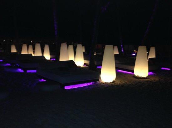 Paradisus Punta Cana Resort : Beach seating lit up at night