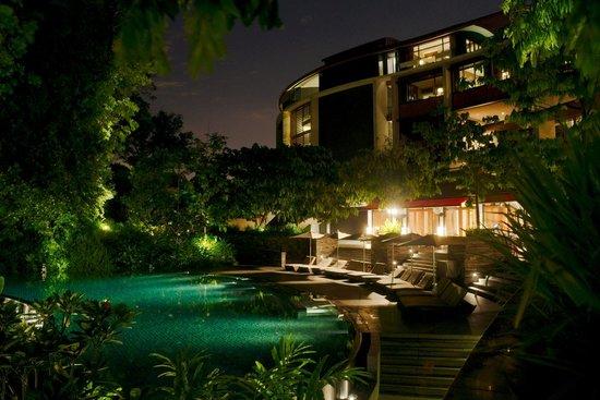 Capella Singapore: 夜のプール