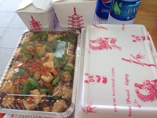 China Town: Our order was yummy and came to us quickly!  The meal on the left was the Szechuan bean curd.