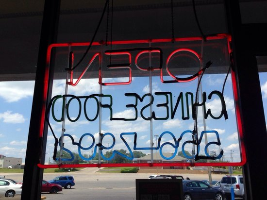 China Town: Their neon sign, from inside the restaurant.