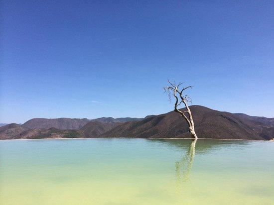 Vista desde una de las albercas naturales de Hierve El Agua