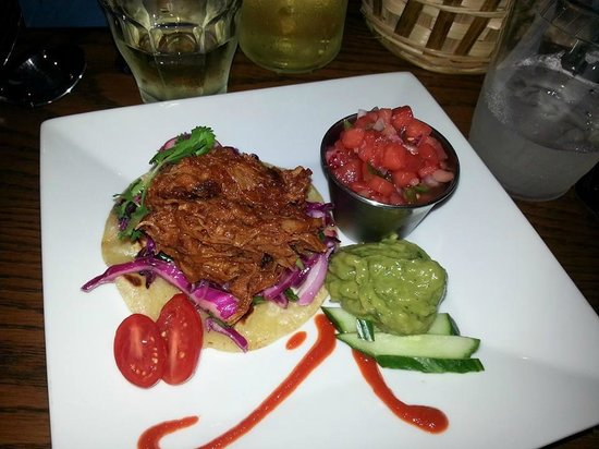 Olde Post Office Cafe: Pork tacos with watermelon salsa