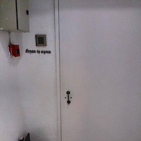 Just Inn: the security door before front desk