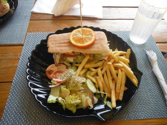 Reef and Beef Aruba: lion fish on panini bread