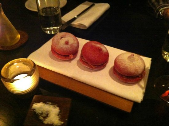 Merediths: Course #1 - Duck & beetroot meringue. Only a few of us like this - those few were very happy!
