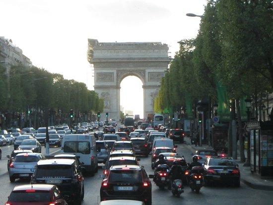 Champs-Élysées : Arc de Triomphe at the end of Champs-Elysees