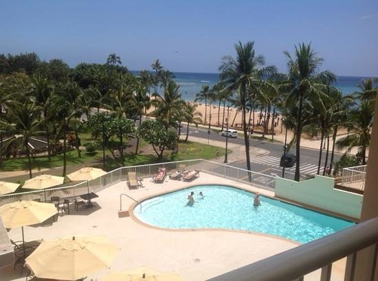 Park Shore Waikiki: View from our partial ocean view room!