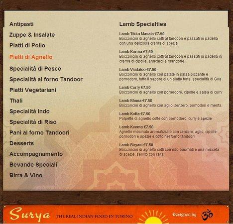 Ristorante Indiano Surya: Piatti di Agnello