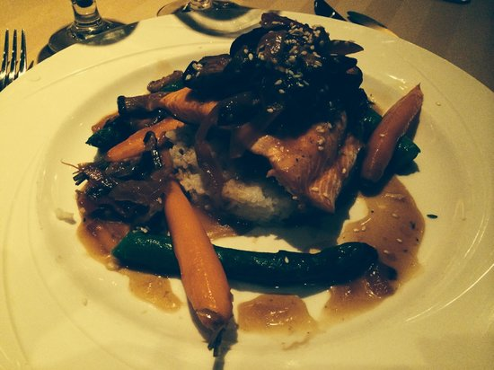 Sterling's Seafood Steakhouse : Wild salmon with mushroom ragout-fantastic!