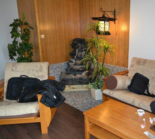 Logis Chez Camillou : Salon (fontaine + canapé + fauteuil + TV + tables basses)