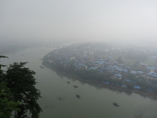 Folded Brocade Hill (Diecai Hill) : Misty view from the top