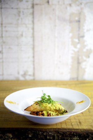 Green Olive Restaurant: Sweet Potato Samosa,Yellow Split Pea Dahl Turmeric Cream
