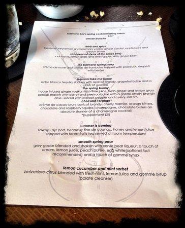 The Balmoral Bar: Cocktail tasting menu