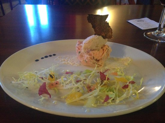 Burnett Arms Hotel: Hot smoked salmon rillet topped with smoked salmon mousse served with a citrus salad