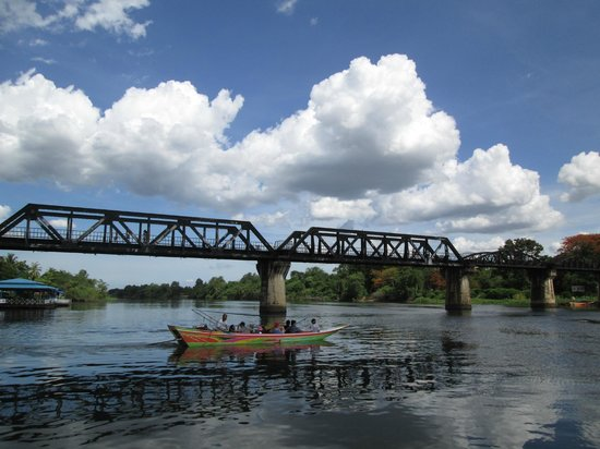 Bridge Over the River Kwai: River Kwai bridge-view from the floating restaurant