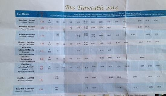Atrium Palace Thalasso Spa Resort & Villas : 2014 bus timetable