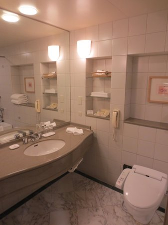 Miyako Hotel Gifu: バスルーム(トイレ・洗面台)
