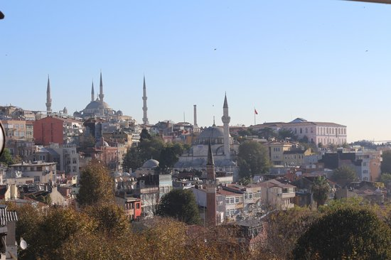 Ottoman Hotel Park: Looking toward blue mosque from rooftop restaurant