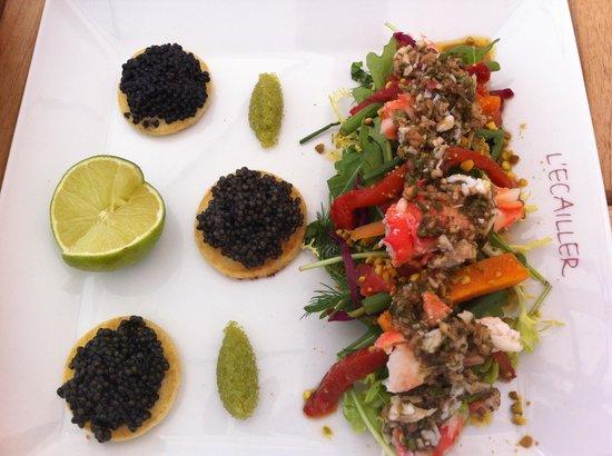 L'Ecailler : Caviar crabe royal en apéro pour65.00 euros