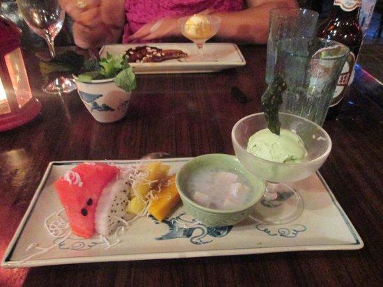 Madame Hien Restaurant: fruit with green tea ice cream