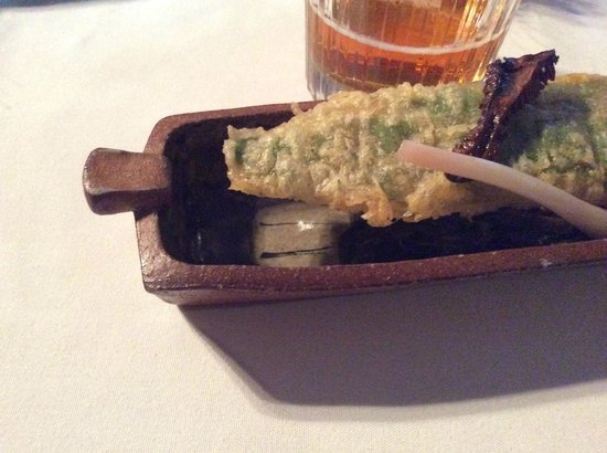 Knife and Fork: Ramp,morel & wrapped pecorino cheese. served in a Courtney Martin tray.