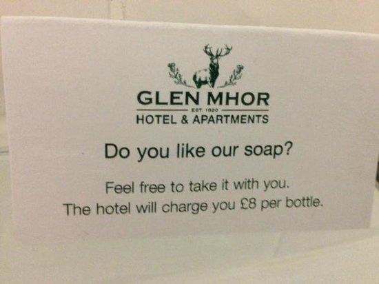 Glen Mhor Hotel & Apartments: Overpriced soap