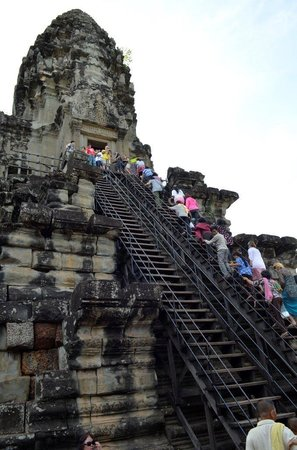 Angkor Wat: Timber stairs to second level of the tower