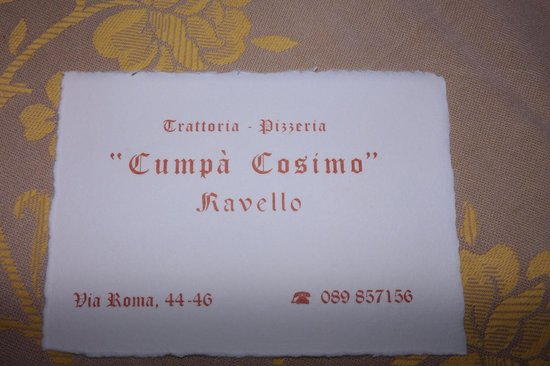 Name and address of Cumpa' Cosimo. Located just off the Ravello Piazza/Square.