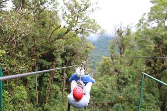 Parque Selvatura: dernière tyrolienne de 1km se fait uniquement par 2