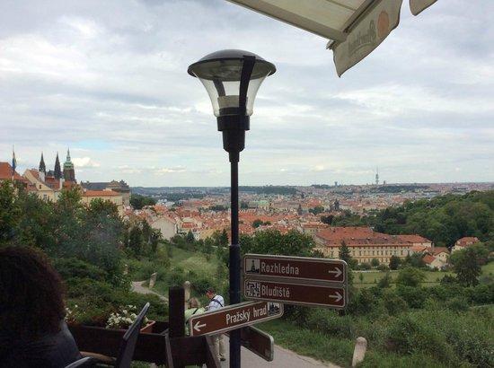 Questenberk: View from the outside deck overlooking Prague