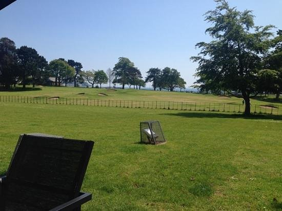 Torre Abbey Tea-Room: view of the pitch & putt and the sea beyond that