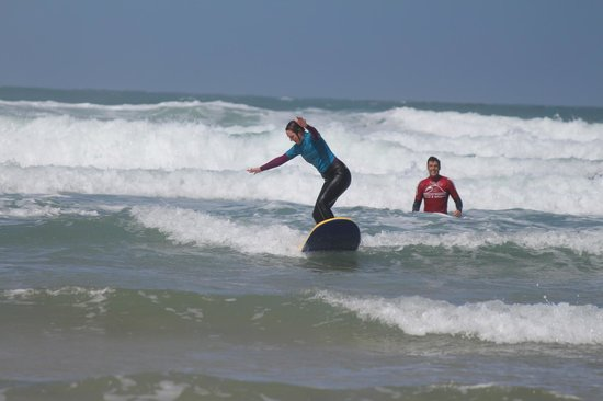 Fistral Beach Surf School : About to fall flat on my face … Dani watching with concern ...