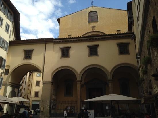 Church of Santa Felicita: Exterior Showing Hidden Passage Crossing Over